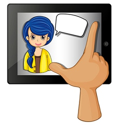 A finger touching the gadget with a woman having vector