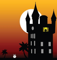Castle in the twilight with white rabbit vector