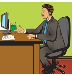 Man in office pop art retro style vector