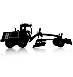 Silhouette of a heavy road grader vector