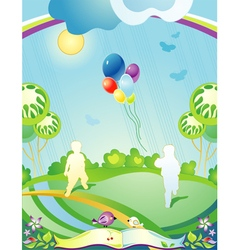 Landscape with children rainbow and balloons vector