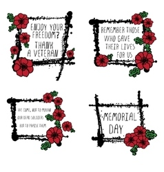 Memorial day cards with poppies vector