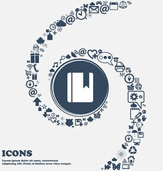 Book bookmark icon sign in the center around the vector