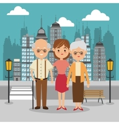 Grandparents and girl icon family design city vector