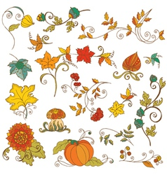 Set of decorative autumn branches leaves vector