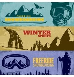 Snowboarding banner set vector