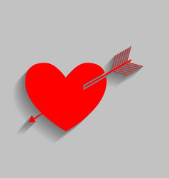 Arrow heart sign red icon with soft vector