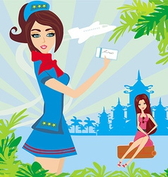 Beautiful stewardess with ticket Abstract card vector image