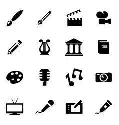 Black art icon set vector