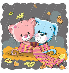 Cat and dog in a scarf vector