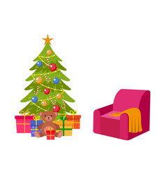 Christmas tree many presents and cozy armchair vector
