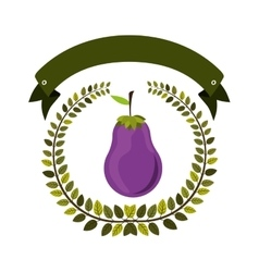 Colorful olive crown and label with eggplant vector
