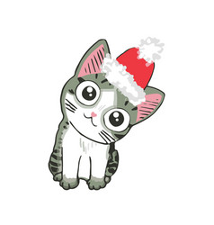 cute kitten in a santa hat funny cat christmas vector image vector image