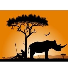 Dawn in africa vector