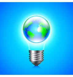 Earth globe inside light bulb environment concept vector image