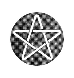 Five point star icon with pixel print halftone vector