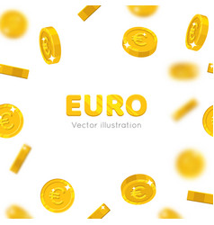 flying gold euro cartoon frame vector image vector image