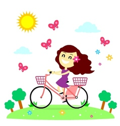 Girl Enjoy Riding Bicycle With The Butterflies vector image vector image