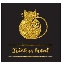 Halloween gold textured cat icon vector image