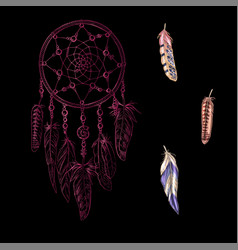 hand drawn ornate pink dreamcatcher vector image vector image