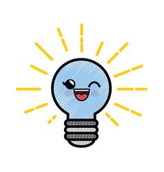 light bulb cartoon smiley vector image vector image