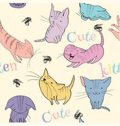 Little kittens pattern vector