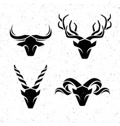 Logos horned animals vector