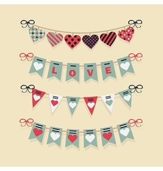 love and hearts banners flags and buntings set vector image