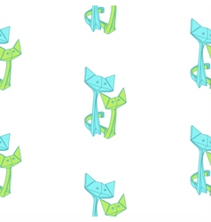 Pattern with drawing of cute origami cats vector