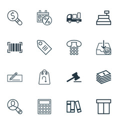 set of 16 ecommerce icons includes callcentre vector image vector image