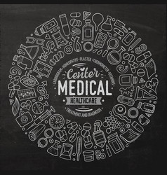 set of medical cartoon doodle objects vector image