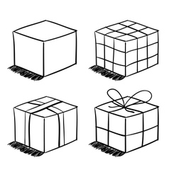 Set of the sketched boxes vector image