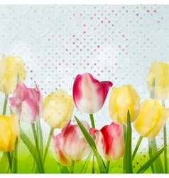 Tulip on polka dot background EPS 10 vector image vector image