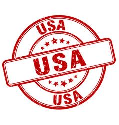 Usa red grunge round vintage rubber stamp vector