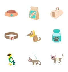 Veterinary animals icons set cartoon style vector