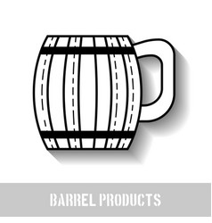 Wooden mug for beer drinks black and white icon vector