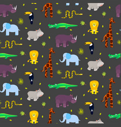 Zoo animals kid seamless pattern vector