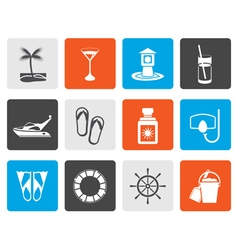 Flat sea marine and holiday icons vector