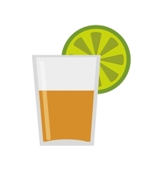 Tequila shot with lime icon vector