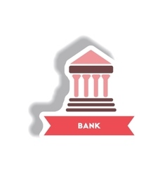 Stylish icon in paper sticker style building bank vector