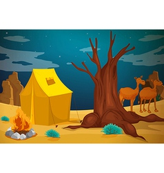 A tent with a camp fire vector image