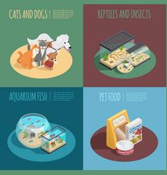 Pet shop concept icons set vector
