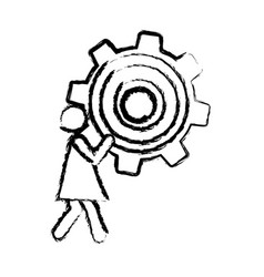 sketch of woman holding a pinion vector image