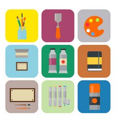 Painting art tools palette icon set flat vector