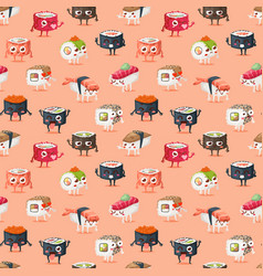 Sushi character food seamless pattern vector