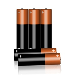 Five batteries on a white background vector