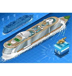 Isometric cruise ship in navigation in rear view vector