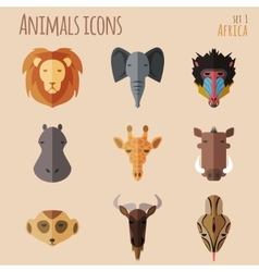 African animal portrait set with flat design vector