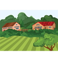 Cartoon village houses with green field and trees vector
