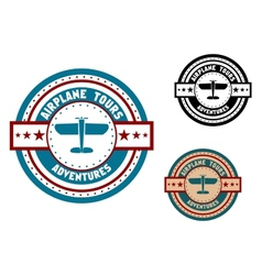 Airplane tours travel icon vector